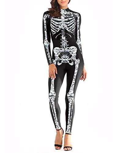 POIUYT Halloween Kostüm Skeleton Jumpsuit Body Langärmelige Overall Anzug Elastische Festival Party Party Rollenspiel Schwarz Farbe,XL,Black-M