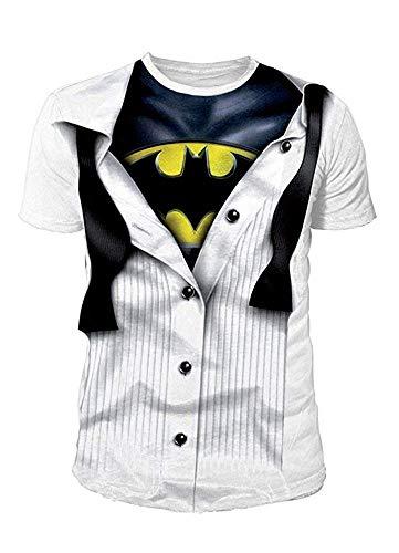 DC Comics - Batman Herren T-Shirt - Batman Suit (Weiss) (S-XL) (XL)