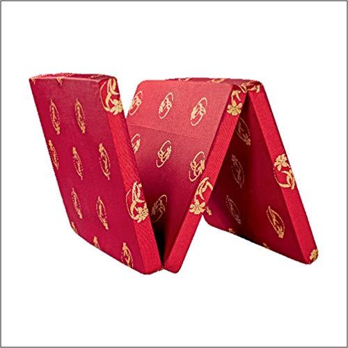 Coir on® Three Fold P.U Foam Mattress Single Size- Maroon 72x36x2 inch