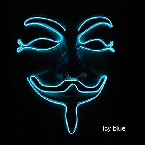 Neon Mask V for Vendetta Mascara Guy Maskerade Masken Party Mascara Halloween Glowing Masker Leichte Maska Scary (Color : 1) (Aliens Guy Kostüm)