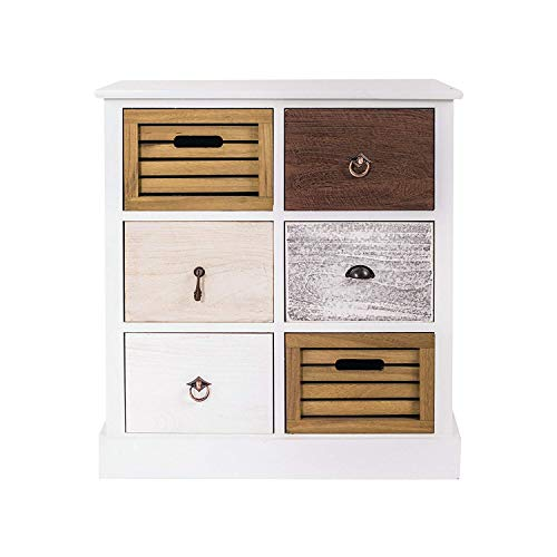 Rebecca Mobili Cajonera Mueble Baño 6 Cajones Madera Paulownia MDF Blanco Marrón Gris Beige Vintage Dormitorio Pasillo - 68 x 56 x 27 cm (A x AN x ...