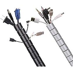 2X 1.5M Cache Cable, MOSOTECH 2pcs Cable Management Cache Cable TV Mural, Flexible Câble Rangement pour Ranger ou Cacher Les câbles, avec Clip Guide câble, Noir et Gris