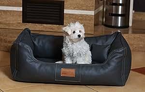 lit Orthopédique de chien Maddox ORTHO VISCO par tierlando dans Velours de cuir art Canapé pour chien Panier pour chien Taille M 80 cm GRAPHITE