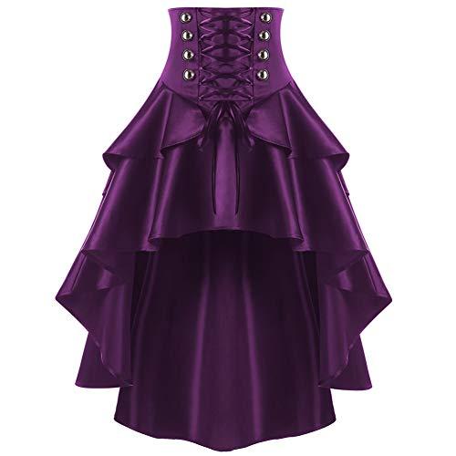 FSDFASS Röcke Frauen Gothic Style Button Punk Korsett Party Röcke Schnüren Taille Rüschen Rock Swing Unregelmäßige High Low Rock -