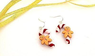 Boucles d'oreilles Noël sucre d'orge et bonhomme en pain d'épice, Boucles d'oreilles gingerbread bonbon Noël en résine Ravissant à offre pour Noël