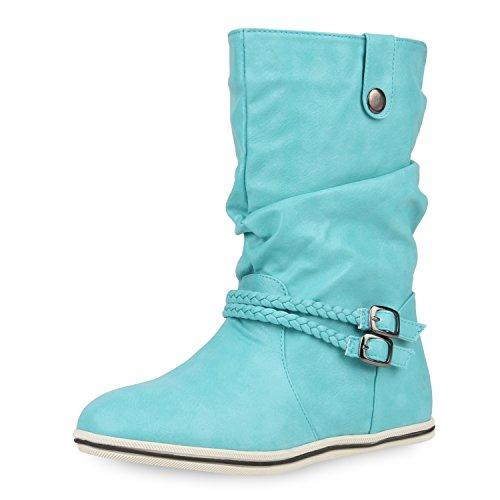 Sportliche Damen Stiefeletten Stiefel Flache Boots High & Low Top Türkis High