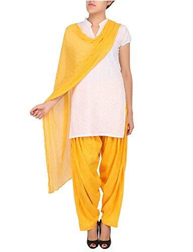 Womens Cottage Women's Yellow Cotton Jacquard Semi Patiala Salwar & Chiffon Dupatta Stole Set with Lace