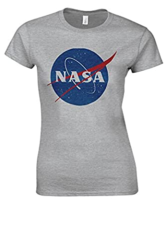 Nasa National Space Administration Logo Sports Grey Women T Shirt Top-M