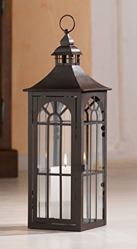 Große Laterne aus Metall & Glas, 45 cm hoch, Gartenlaterne