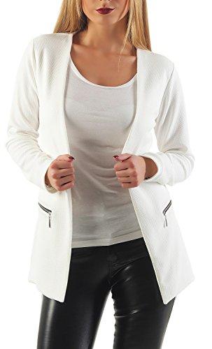 Damen lang Blazer mit Taschen ( 501 ), Farbe:Weiß, Blazer 1:36 / - Mäntel Weiße