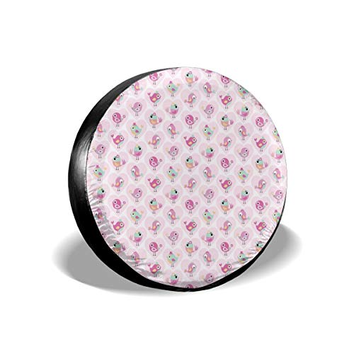 Tire Cover Tire Cover Wheel Covers,Cute Birds With Inside Hearts With Cartoon Flowers And Star Pattern,for SUV Truck Camper Travel Trailer Accessories(14,15,16,17 Inch),Tire Cover size:15inches -