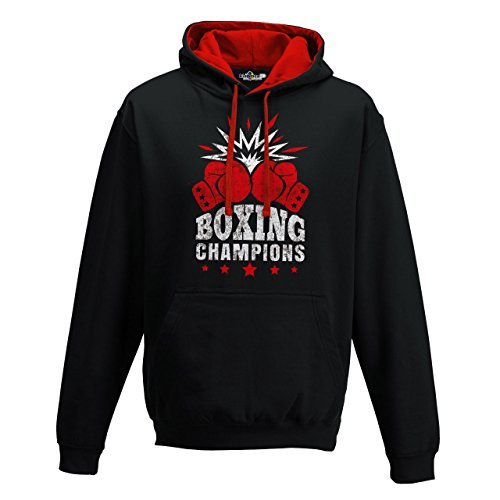 Sudadera capucha Bi Boxeo Boxeo Boxing Champions Ring combate Saco 2, Jet Black-Fire Red