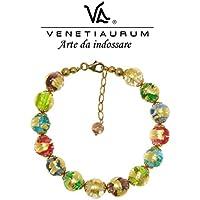 Venetiaurum - Bracciale donna con perle in vetro originale di Murano e argento 925 - Gioiello made in Italy certificato