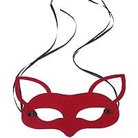 YAANCUN Máscara de Zorro Forma Disfraces para Halloween Víspera de Todos los Santos Mascarada Máscara Con Cinta Fiesta Cosplay - Rojo