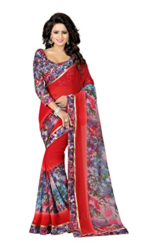 The Fashion Outlets Women's Georgette Lace Work Sarees(Free Size_Red)