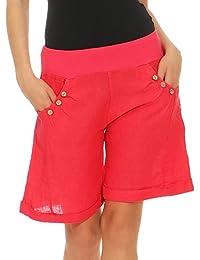 43cde2d2e88da5 Malito Damen Bermuda aus Leinen | Shorts für den Strand | lässige Kurze  Hose | Pants