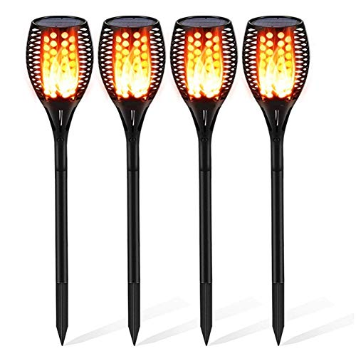 Solar Flame Lights Upgraded Garden Lights - 96 LED Flickering Flame Solar Torch Lights Dusk to Dawn Auto On/Off Waterproof Outdoor Landscape Decorative Lighting 4 pcs