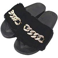FENICAL Zapatillas de Punta Abierta Zapatillas de Felpa para Mujer Zapatillas con Cadena Antideslizantes Sandalias de tacón Plano para Damas Mujeres niñas