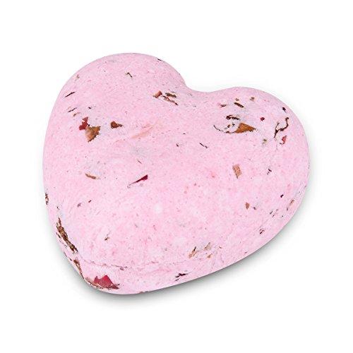 HOUSWEETY Badebomben Badekugeln (Aromatherapie, Entspannung, Pflegend, aetherische oele von Rosa Rose)Badepralinen Herzfoermiges