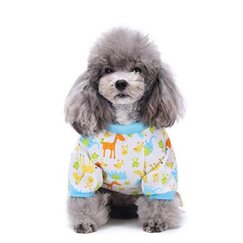 Heaviesk Nette gedruckte Haustier-Kleidung Kleiner Hund-Overall-Chihuahua-Pyjamas-Haustier-Hoodie-Mantel für Hunde Katzen super weiches warmes (Super Hund Kostüme)