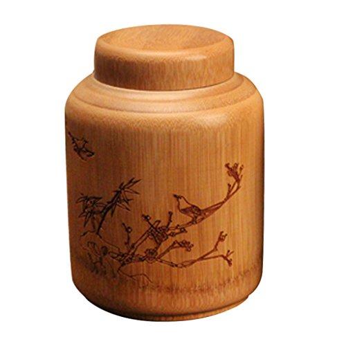 D DOLITY kreatives Kaffeedose, Kaffeebehälter, Teedose mit Deckel aus Bambus - typ 1 S
