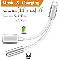 Lightnig a 3,5 mm adaptador de audio + adaptador de cargador para iPhone 7/7Plus iPhone 8/8Plus iPhone X a 3,5 mm auriculares auriculares. 2 en 1 Lightnig Jack a 3,5 mm adaptador de auriculares para iPhone 7.Audio divisor de auriculares y adaptador de carga (compatible con audio + carga + compatible iOS 10.33/11.2 o superior) – plateado