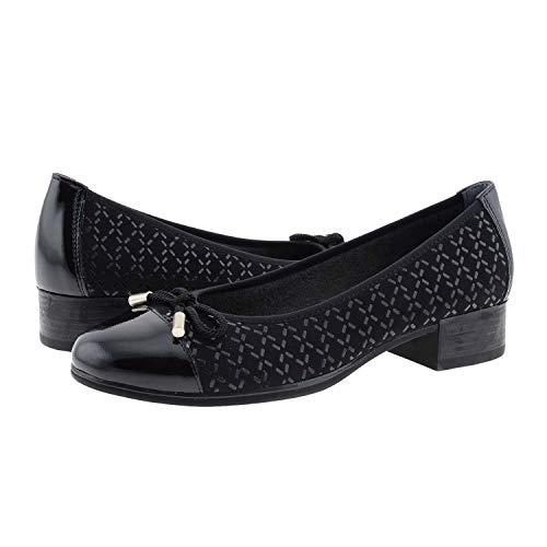 Bailarinas Piel Charol y Textil con Lazo Pitillos Talla 37 Color Negro
