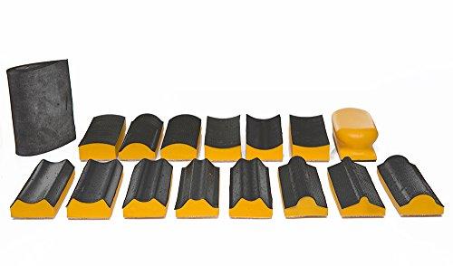 Schleifklotz Kit 16–Schleifen Hand Pad-Set mit Haken und Klettverschluss