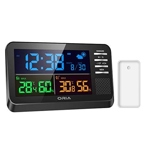 ORIA Funk Wetterstation mit Farbdisplay, Wetterstation mit Außensensor, Wettervorhersage, Innen Außen Thermometer Hygrometer, Wecker und Schlummerfunktion