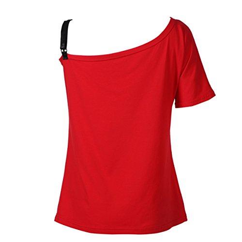 Femme Tunique Chemise Col Bateau Épaules Dénudées Été Casual Papillon Imprimé Slim T-shirt Tops Plage Taille S-5XL Rouge