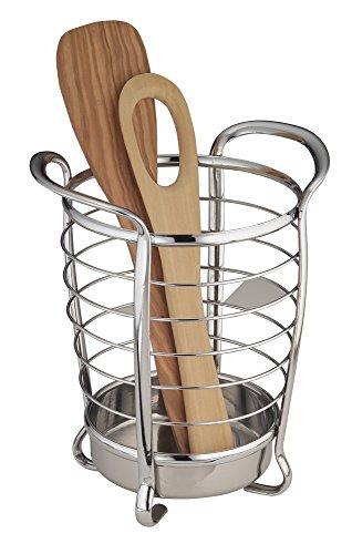 mDesign porte-ustensiles de cuisine en acier inoxydable – idéal comme support à couverts ou accessoires de cuisine – meilleure organisation de la cuisine – avec poignées pour le transport facile
