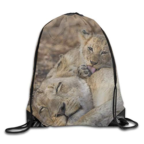 Etryrt Prämie Turnbeutel/Sportbeutel, Wildlife Animal Lion Drawstring Backpack Bag Shoulder Bags Gym Bag for Adult -