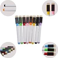 Xpork 8 Colours Magnetic White Board Marker Pens Dry Erase Eraser Easy Whiteboard with Built-in Eraser