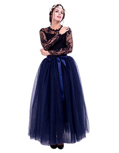 URVIP Damen's Tüllrock Lang 5 Layer Prinzessin Kleider Lang Petticoat Ballettrock Maxi Unterrock Pettiskirt Lang One Size Navy