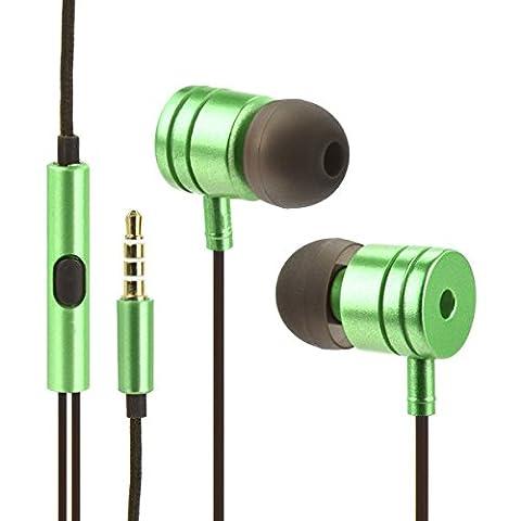 Mgs33 Ecouteurs Vert Métal Filaires Intra-Auriculaires,Casque Stéréo Filaire,Micro Casque Portable,2
