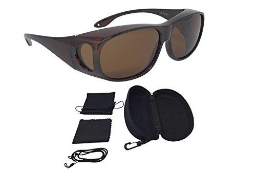 Sonnenüberbrille Überzieh Sonnenbrille CLASSIC EDITION polarisiert UV 400 (Braun)