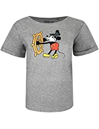 Disney Mickey Mouse Steam Boat Willie Camiseta para Mujer