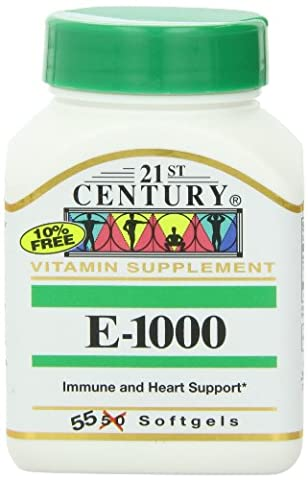 21st Century Health Care, E-1000, 55 Softgels - Vitamin E 1000mg