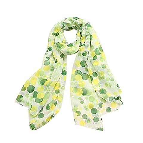 Bescita Pashmina Scarfand Vibrant Painting Artistic Big Dot Print Scarf (Green)