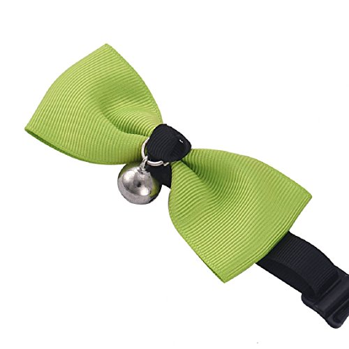 malloom-rglable-chien-chat-arc-animal-cravate-avec-bell-chiot-chaton-cravate-collier-vert