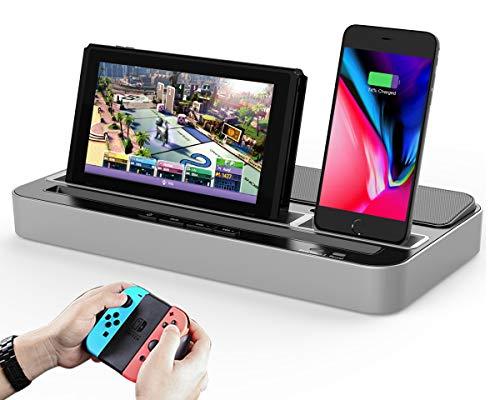Doppio Stazione di Ricarica e Altoparlante Speaker Supporto di Caricatore Caricabatterie Stand con Micro USB e USB C Adattatore compatibile con