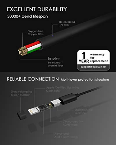 PALOVUE Earflow In-Ear Lightning Kopfhörer Magnetischer MFi Zertifizierter Ohrhörer mit Mikrofon-Controller für iPhone X/XS/XS Max/XR iPhone 8 / P iPhone 7 / P (Metallic Schwarz) - 7