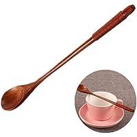 Namgiy - Cuchara de madera para sopa, té, café, postre, servir helado, durable, cuchara de mango largo para cocina, cocina, hogar, restaurante 19.5cm Wooden 3