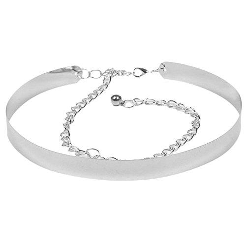 YooGer Cinturón, Cintura con Espejo Cadenas metálicas para Mujer (Plateado)