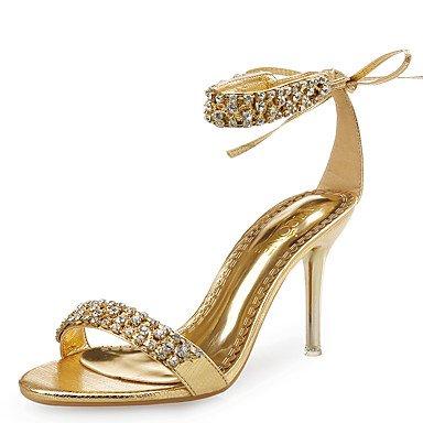 RTRY Donna Sandali Scarpe Club Pelle Glitter Party Di Nozze &Amp; Abito Da Sera Stiletto Heel Strass Fiore In Raso Nero Argento Oro Rosa US5 / EU35 / UK3 / CN34