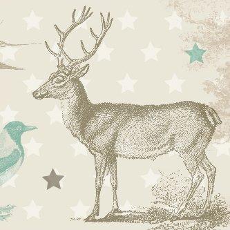 anna wand Bordüre selbstklebend FOREST ANIMALS - Wandbordüre Kinderzimmer / Babyzimmer mit Wald-Tieren in Beige-Tönen - Wandtattoo...