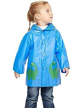 Lecoon PVC Chubasquero Poncho Impermeable para Niño Niña Bebé con Capucha Cartoon Dinosaurios Azul