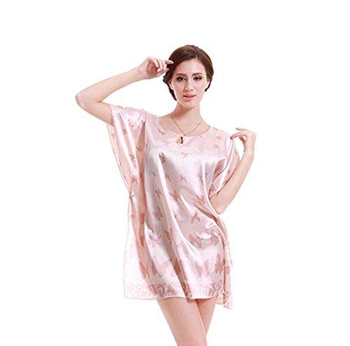 ZC&J Schmetterling Sommer klassische Seide Nightgownsommer kurzer Absatz Frau Seide Nachthemd nach Hause Service / Badrock,pink,one size Pink