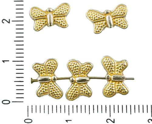 24pcs Antique Silver Tone Matt Gold Patina Waschen Flache, Gepunktete Schmetterling, Tier Perlen Charms zweiseitig Bohemian Metal Ergebnisse 11mm x 7mm