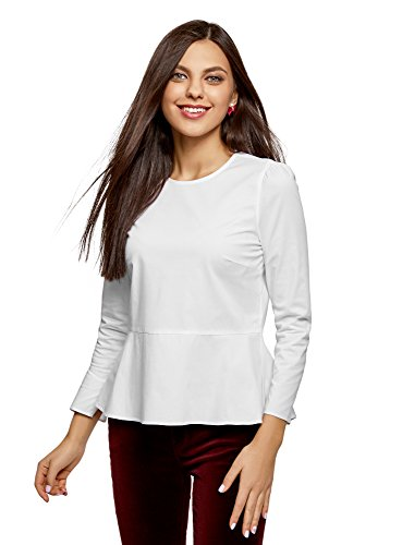 oodji Ultra Damen Baumwoll-Bluse mit Volants, Weiß, DE 34/EU 36/XS